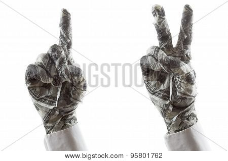 Hand Gestures Show The Direction Or Victory