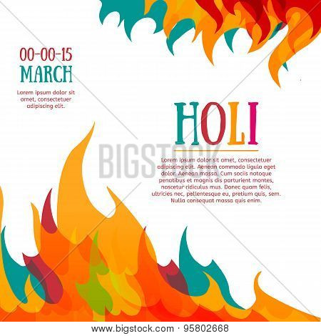 Template poster, postcard or invitation with multicolored abstraction. Holi celebrations. Colorful f
