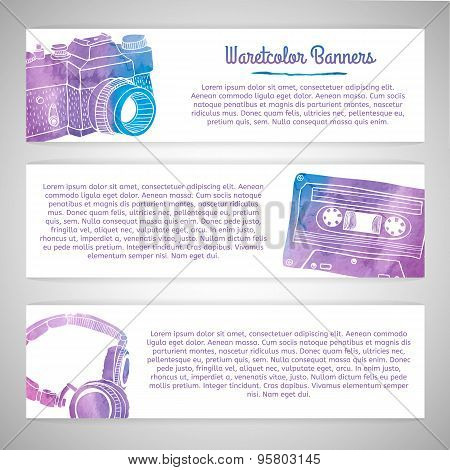 Set of templates or horizontal banners with silhouettes of cards retro items. Watercolor texture. Pl