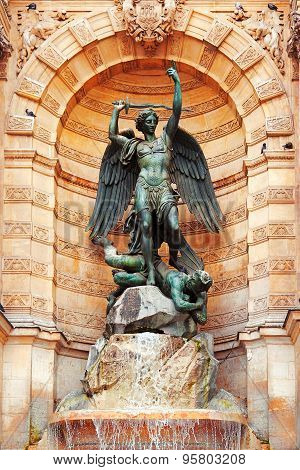 The Statue Of Saint Michael, Paris