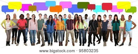 Multi Ethnic Group Of Smiling Young People Talking With Speech Bubble