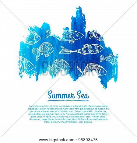 Watercolor spot with a pattern of fish. Silhouettes, doodle style. Vector. Place for your text.