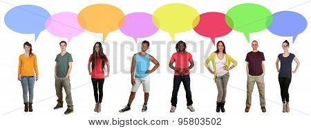 Multi Ethnic Group Of Many People Talking With Speech Bubble And Copyspace
