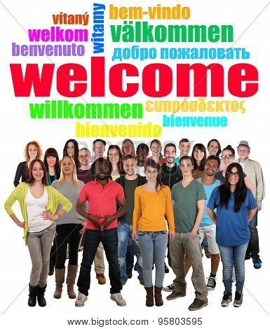Multi Ethnic Group Of Smiling Young People Saying Welcome In Tag Cloud