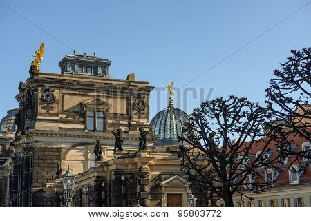 Dresden Academy Of Fine Arts On Bruhl's Terrace, Germany.
