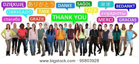 Multi Ethnic Group Of Smiling Young People Saying Thank You