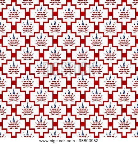 Red And White Usa Marijuana Tile Pattern Repeat Background