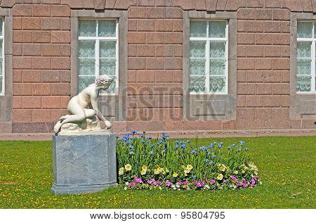 Tsarskoye Selo (Pushkin). Saint-Petersburg, Russia. The Private Garden and The Nymph Sculpture
