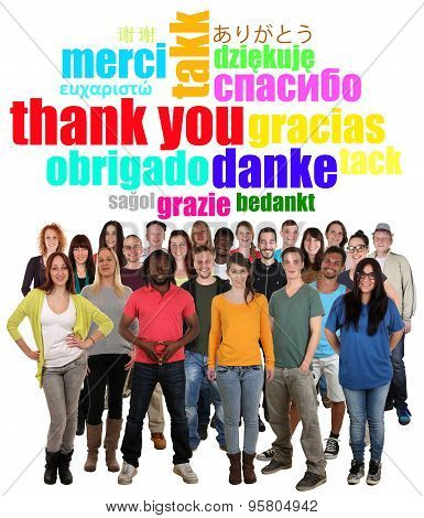 Large Multi Ethnic Group Of Young People Saying Thank You In Different Languages