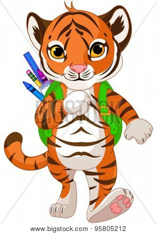 Illustration of little tiger goes to school
