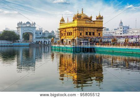 Famous indian landmark - Sikh gurdwara Golden Temple (Harmandir Sahib). Amritsar, Punjab, India