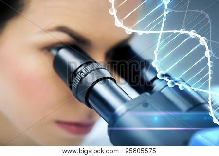 science, chemistry, technology, biology and people concept - close up of young female scientist looking to microscope eyepiece and making research in clinical laboratory with dna molecule structure