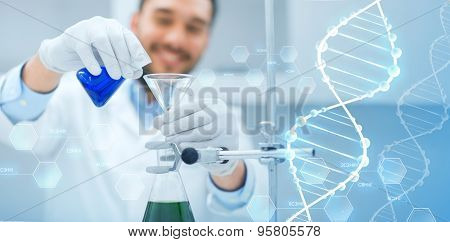 science, chemistry, biology, medicine and people concept - close up of scientist filling test tubes with funnel and making research in clinical laboratory over dna molecule structure