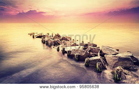 Vintage Toned Beautiful Sea Landscape After Sunset.
