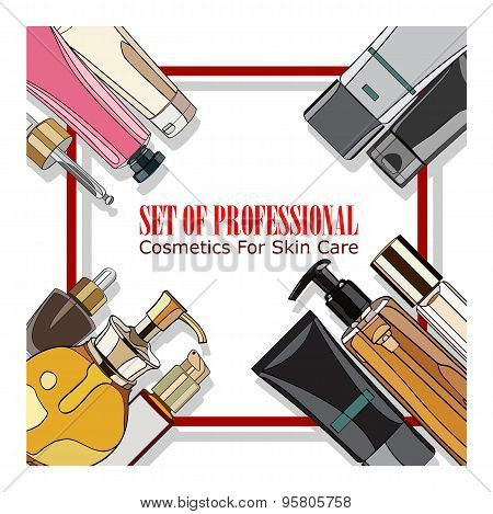 set of professional cosmetics for skin care
