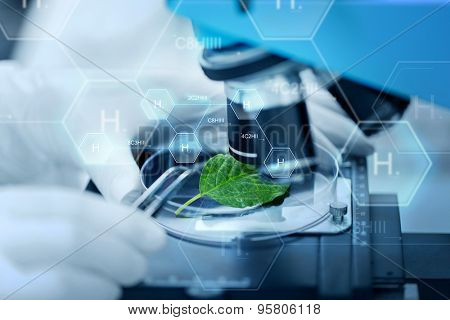 science, chemistry, biology and people concept - close up of scientist hand with microscope and green leaf making research in clinical laboratory over hydrogen chemical formula