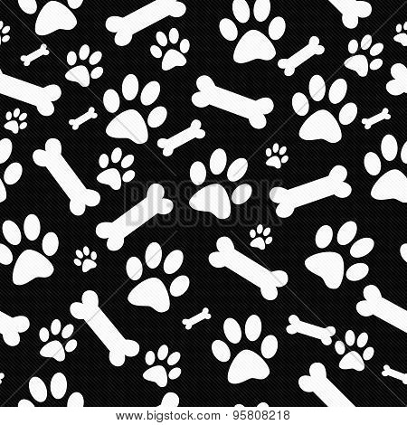 Black And White Dog Paw Prints And Bones Tile Pattern Repeat Background
