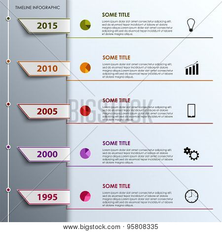 Time Line Info Graphic With Colored Tabs Design Template