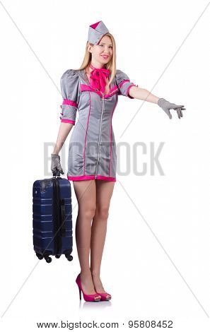 Stewardess with case isolated on white