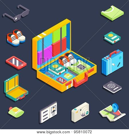 Baggage items accessories summer travel vacation trip 3d isometric vector illustration