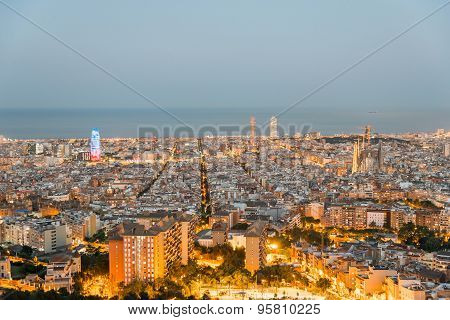 Illuminated Barcelona at night