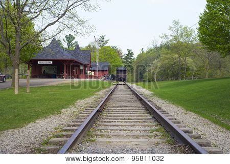 DUNDAS,CANADA-May 9,2015: Dundas Conservation area Trail Centre, a victorian reproduction of a an old railway station built in 1929 the train car was donated by the Canadian Pacific Railway in 1978.