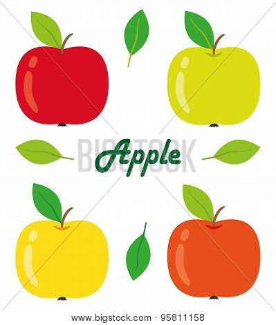 Apples Isolated Objects Vector