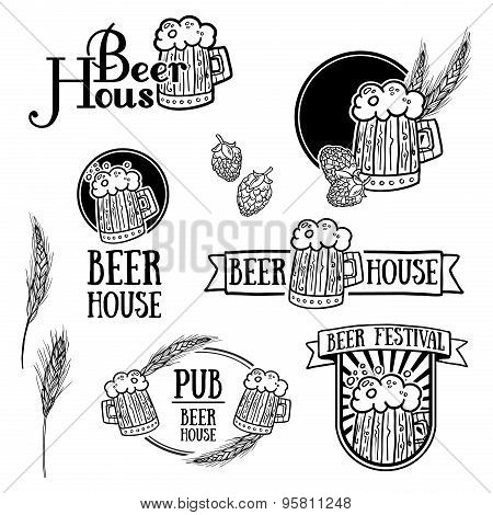 Set of vintage monochrome retro logos, icons, signs, badges or labels of beer. Template design for a