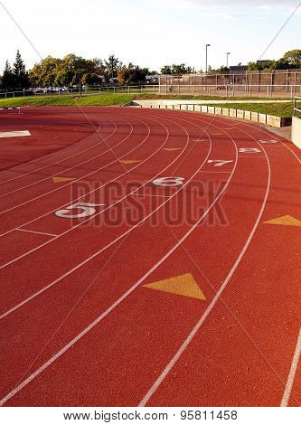 Curve On Running Track At Community College
