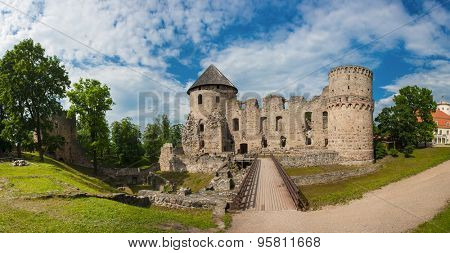 Ruins of the beautiful castle in town of Cesis was a residence of the Livonian order (teutonic knights) in the middle ages, Latvia. Panorama