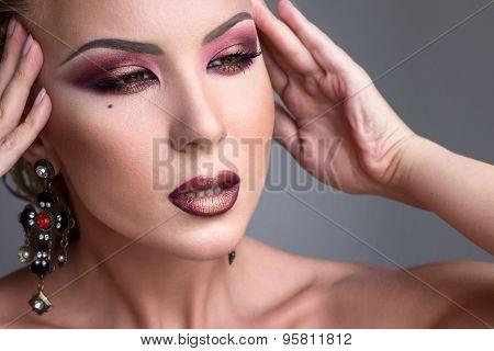 Beautiful Girl With Evening  Burgundy Makeup