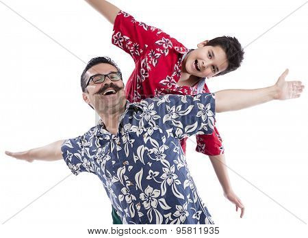 Happy portrait of the father and son of eleven years isolated on white background