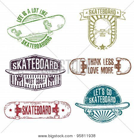 Set of vintage color logos, badges, badges, labels, stickers with skateboard and cap. Retro style. G