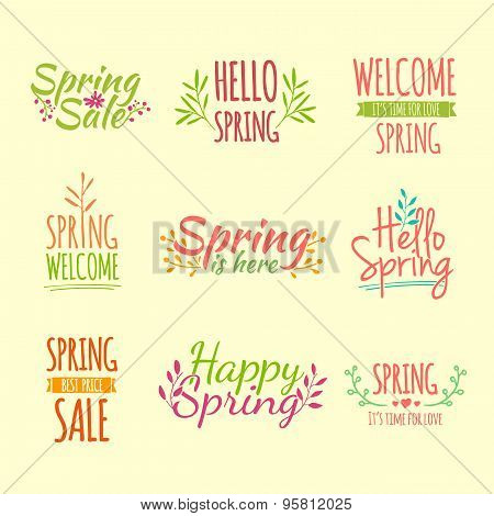 Set of colored vintage retro logos, icons, stickers with the text of the spring and floral elements.