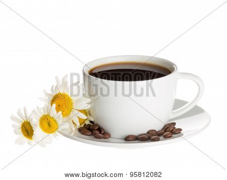 Cup Of Coffee And Daisies