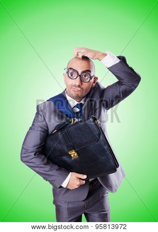 Funny nerd businessman against the gradient