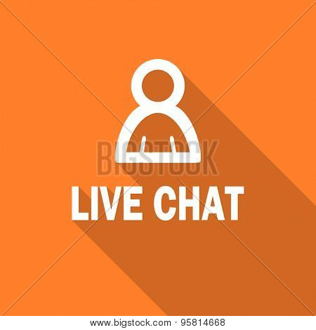 live chat flat design modern icon with long shadow for web and mobile app