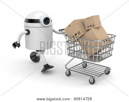 Robot with shopping cart filling boxes