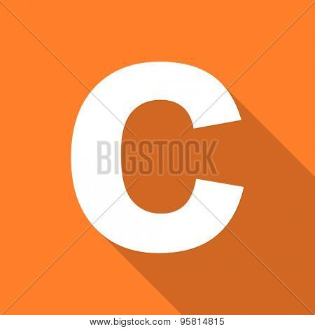 copyright flat design modern icon with long shadow for web and mobile app