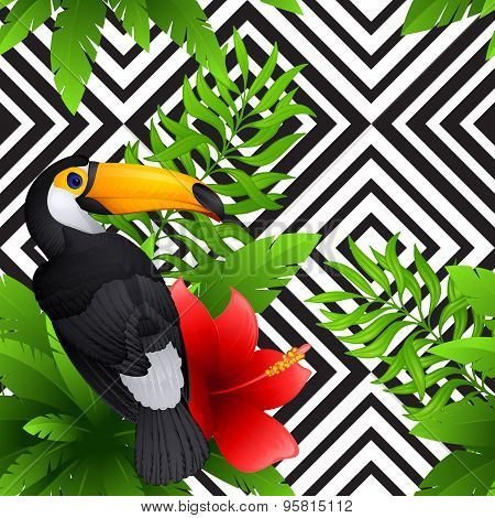 Vector tropical pattern with toucan and  hibiscus, palm leaves , black and white geometric backgroun