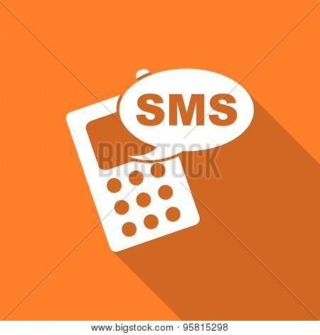 sms flat design modern icon with long shadow for web and mobile app