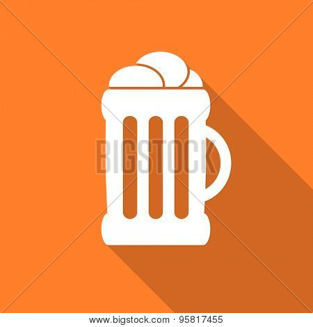 beer flat design modern icon with long shadow for web and mobile app