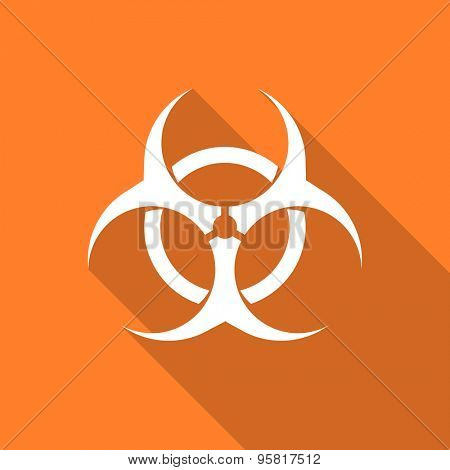 biohazard flat design modern icon with long shadow for web and mobile app