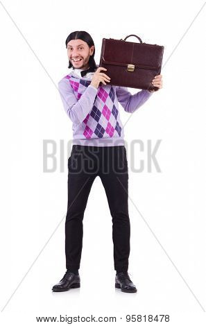 Smiling man with briefcase isolated on white