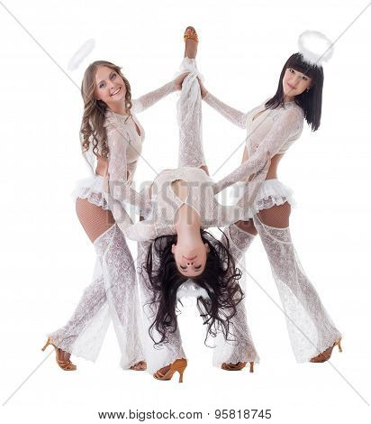 Pretty go-go dancers dressed as angels