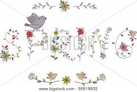 Floral Elements Of Vintage. Phrase
