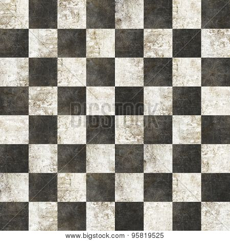 Checkered Tiles Seamless With Black And White Marble Effect