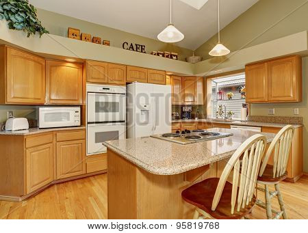 Traditional Kitchen With Dinning Area.