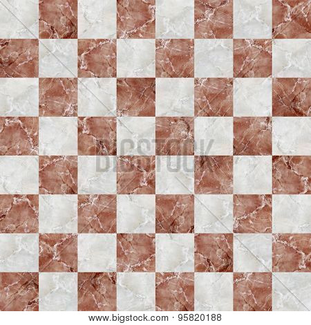 Checkered Tiles Seamless With Red And White Marble Effect