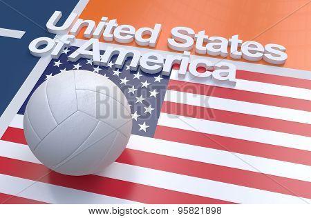 Flag Of Usa With Championship Volleyball Ball